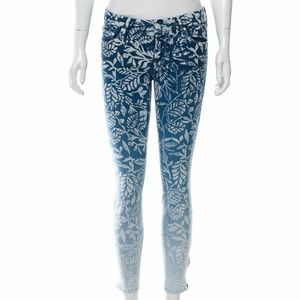 Mother Ombre Leaf Print The Looker Ankle Zip Jean